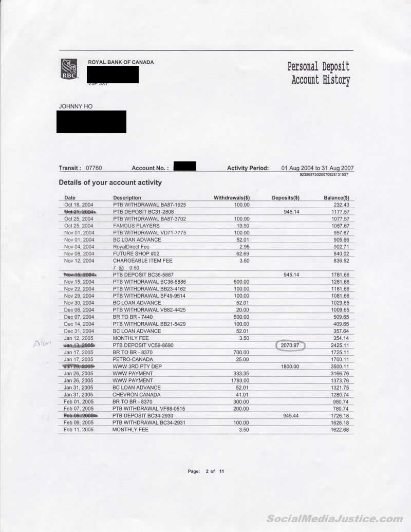 Johnny Ho Bank Record Markings 2