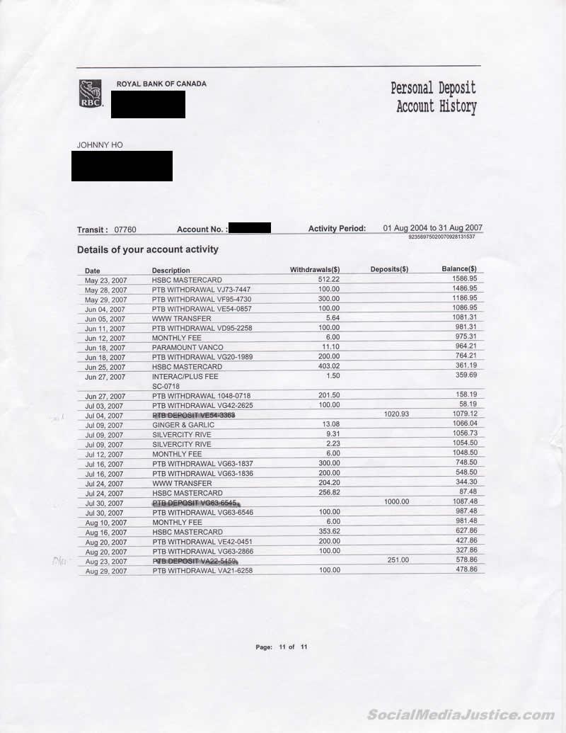 "Johnny Ho Bank Record Markings 11"" width="