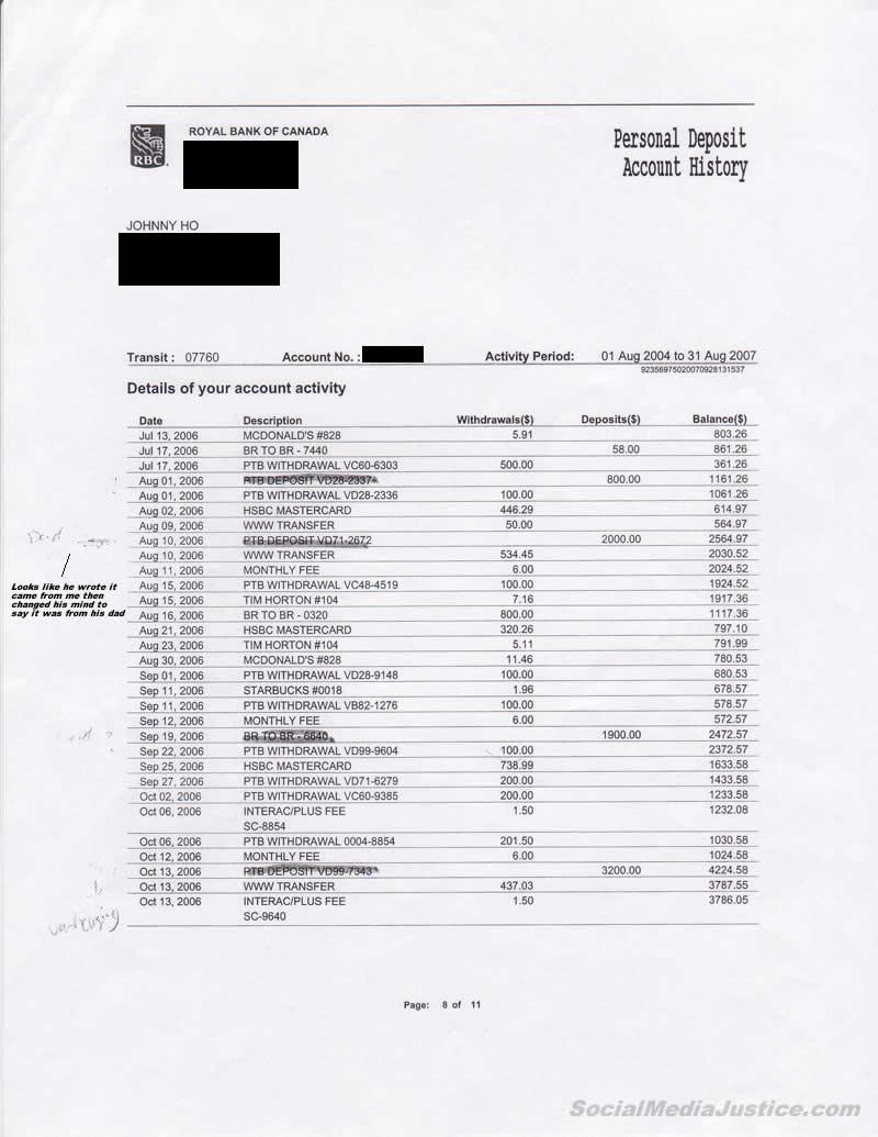 Johnny Ho Bank Record Markings 8